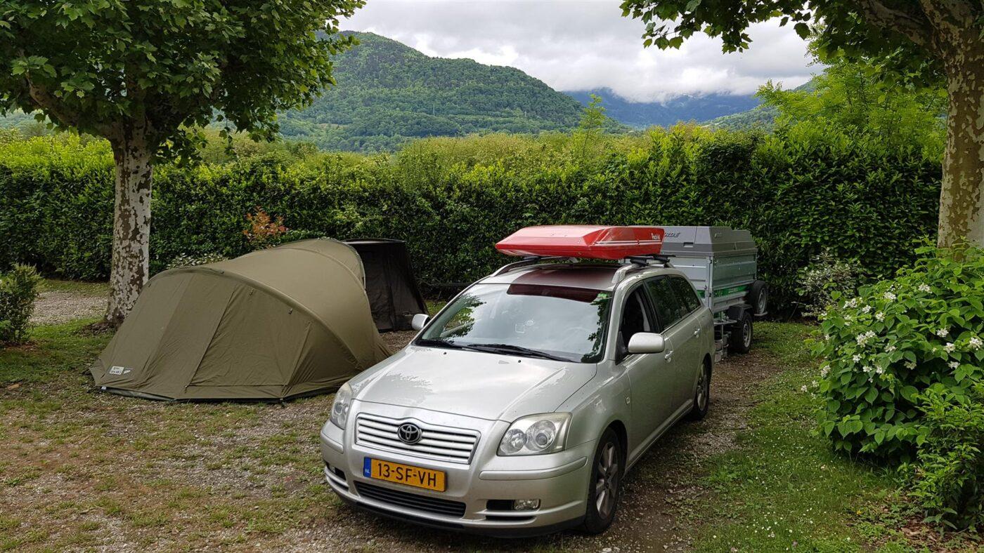 Onze campingplek voor de eerste dagen van de sessie