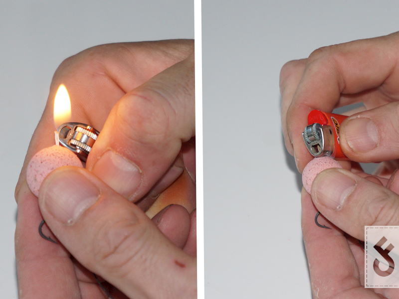 Knip het overtollige bait floss en laat ca. 1 cm over. Brandt dit vervolgens weg met een aansteker. Zodra het is gesmolten tot op de boilie kan je met de achterkant van de aansteker er een plat stukje van maken (dit kan ook met je vingers maar let op dat het warm kan zijn).