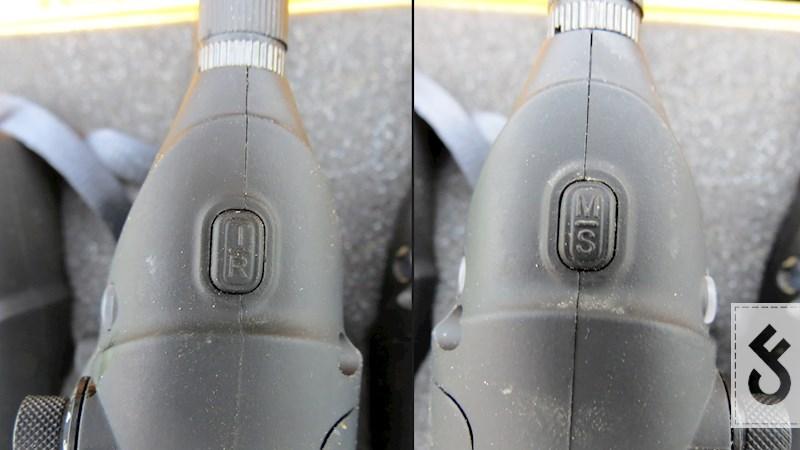 Knoppen aan de zijkant van de De knoppen van de ND Tackle K9 beetmelder