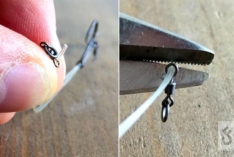 Rijg een mini swivel aan beide uiteinden van je fluorocarbon. Bepaal de lengte van je onderlijn en knip hem een centimeter verder af van de lengte die je daadwerkelijk wilt hebben.