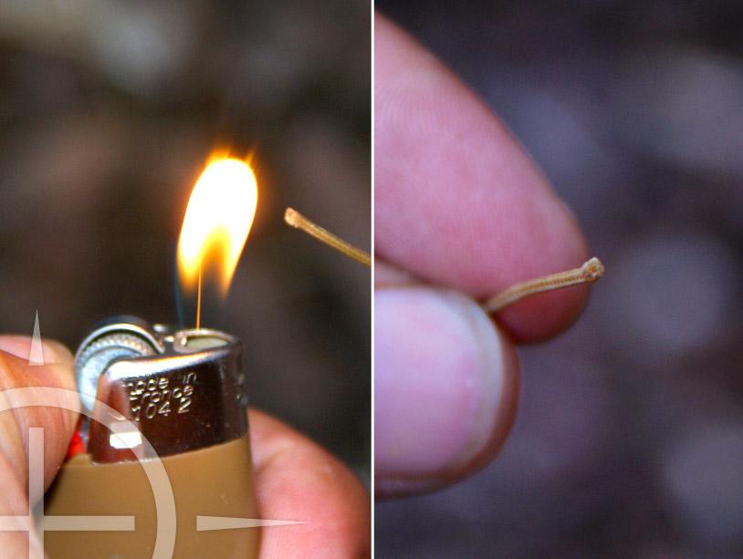 Houd nu heel even een aansteker bij het uiteinde van de mantel. Hierdoor zullen de losse draden van de mantel aan elkaar smelten waardoor het niet zal rafelen.
