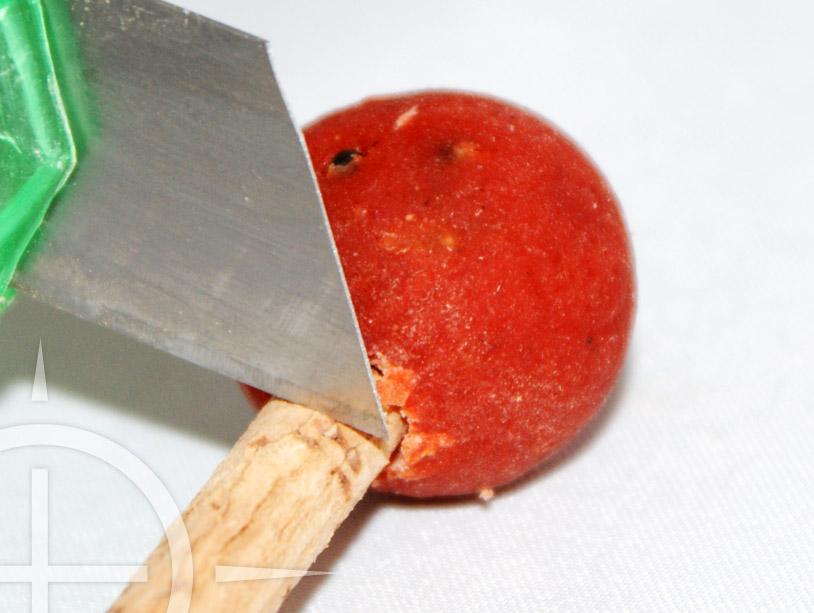 Schuif het kurkje tot aan het einde van het gat in de boilie. Wanneer het strak in de boilie zit kun je met het stanleymes het stuk 'rest kurk' wegsnijden. Zorg ervoor dat het stuk kurk ongeveer 3 mm uitsteekt.