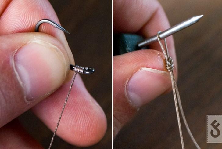 Met bijvoorbeeld een knotless knot bevestig je de haak aan je favoriete onderlijnmateriaal. Bepaal de lengte van de rig en bevestig een wartel of maak een lusje.