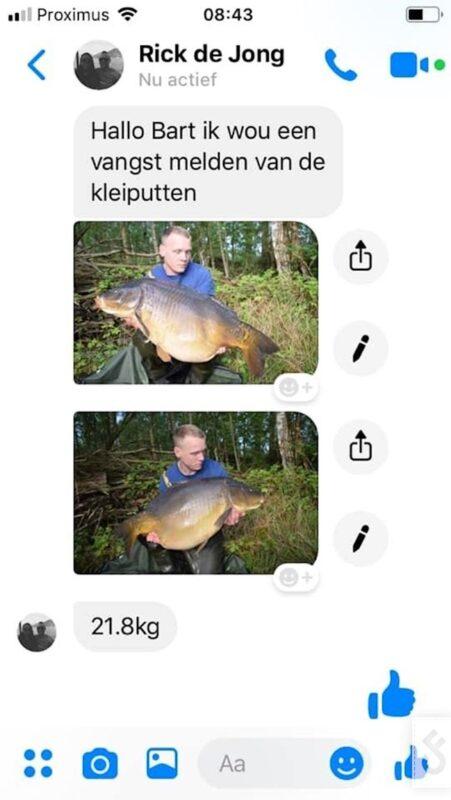 Dit was toen de eerste melding van een 20kg vis op de Kempische Kleiputten. Ondertussen zitten er op dit water al meerdere die deze grens overschrijden