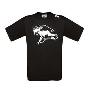 Shirt Karperkop zwart- CarpFeeling webshop