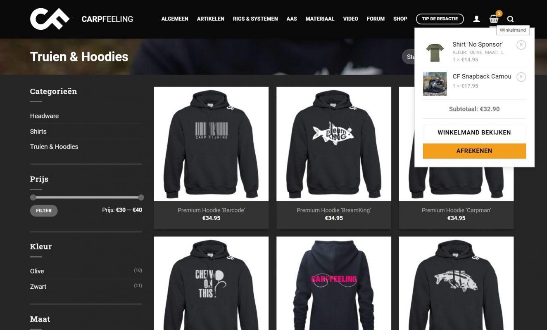 Koop je Merchandise in de nieuwe CarpFeeling webshop
