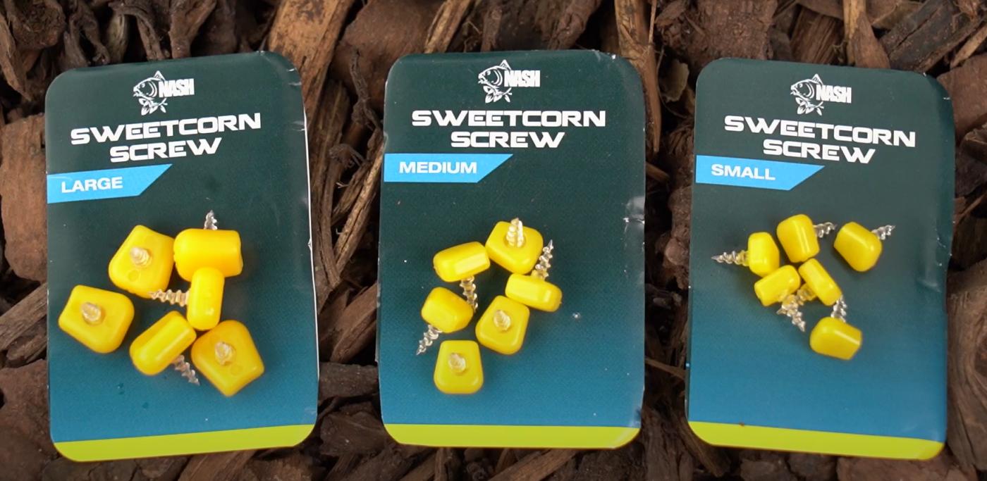 nieuwe producten: nash sweetcorn screws